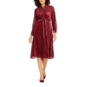 Alfani Women's Velvet Burnout Belted Shirtdress